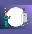 inspector with checklist examines heating system vector image vector image