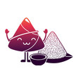 kawaii rice dumpling with sauce cartoon vector image vector image