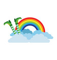 leg of leprechaun rainbow clouds magic traditional vector image