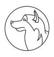 Line head dog in round vector image vector image