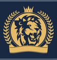 lion head with crown sign royal cat profile icon vector image