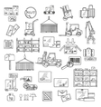 Logistics storage and delivery sketches vector image