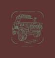 off-road car emblem in line art style vector image