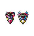 one eye owl logo logotype colorful theme vector image vector image