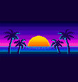 retro sunrise with palms in background