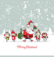 santa claus with children christmas card vector image