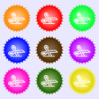 scissors icon sign A set of nine different colored vector image vector image