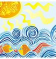 Sea sun fishes pattern vector image