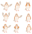 set flat screech-owl icons vector image vector image