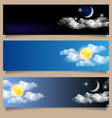 set of day and night horizontal banners vector image vector image