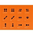 Set of multitouch gestures icons on orange vector image