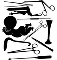silhouettes of gynecological tools isolated vector image