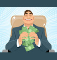 smiling businessman with money vector image vector image