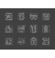 Stylish flat white line bathroom icons set vector image vector image
