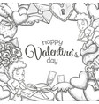 template with sketch valentines day icons vector image vector image