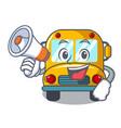 with megaphone school bus character cartoon vector image vector image