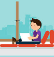 young freelancer working with laptop at home vector image vector image