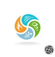 Four natural elements logo Fire water air wind and vector image