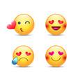 love emoticon set cute cartoon face in love vector image