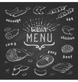 Meat menu on chalkboard Set of meat symbols beef vector image