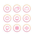 weather line icons set forecast elements sunny vector image