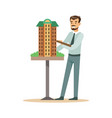 young architect man presenting model of building vector image