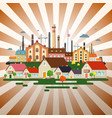 abstract town on retro background factory in city vector image vector image