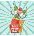 april fools day a jester in box toy background vec vector image vector image