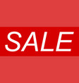 banner sale text sale on red background vector image