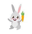 beautiful rabbit with carrot easter character vector image
