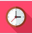 Colorful clock icon in modern flat style with long vector image