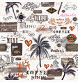 creative trendy pattern with retro labels palms vector image