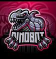 dinosaur robot esport mascot logo design vector image vector image