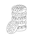 doodle coloring book page donut pile sweets vector image vector image
