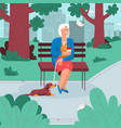 elderly woman sitting on bench resting in city vector image