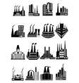 Factory buildings icons set vector image vector image
