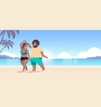 fat obese couple wearing beach clothes overweight vector image vector image