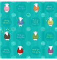 Festive seamless pattern with cartoon sheeps vector image