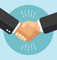 flat handshake design business agreement style vector image vector image