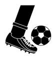 foot kicking ball football soccer icon image vector image vector image