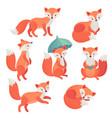 fox set hand drawn style cute vector image vector image