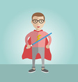 Geek superhero boy with the sword and a cape vector image