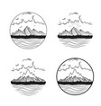 hand drawn labels and emblems with mountains vector image