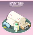 healthy sleep isometric composition vector image