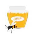 Honey jar and bee vector image vector image