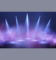 light beams searchlights in purple and blue vector image