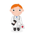 little boy in doctor uniform with stethoscope vector image vector image