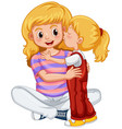 little girl kissing mother vector image vector image