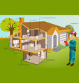 man inspections modern house in cut with garden vector image vector image