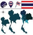 map of thailand with regions vector image vector image